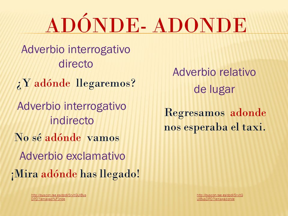 ADÓNDE- ADONDE Adverbio interrogativo directo Adverbio relativo
