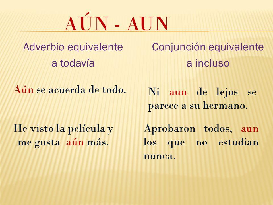 AÚN - AUN Adverbio equivalente a todavía Conjunción equivalente