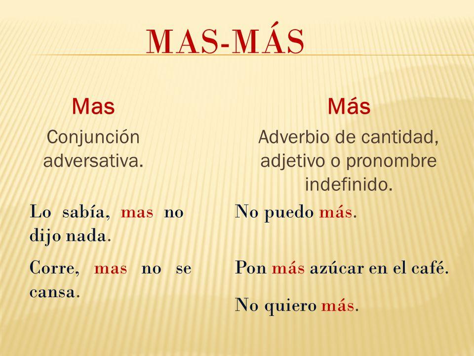 MAS-MÁS Mas Más Conjunción adversativa.