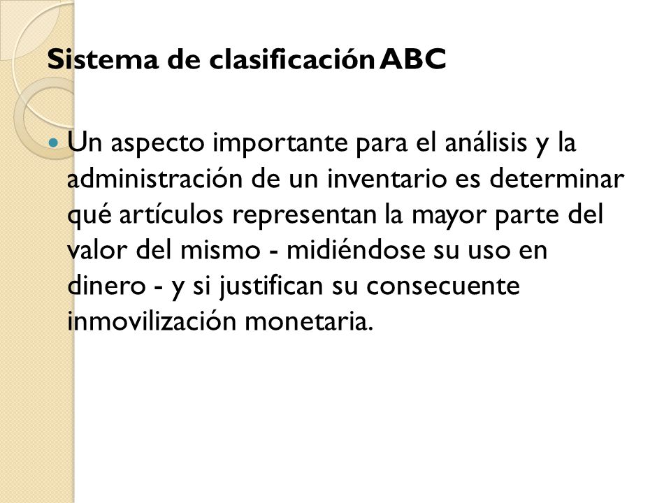 Sistema de clasificación ABC