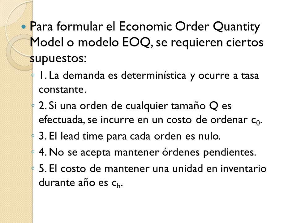 Para formular el Economic Order Quantity Model o modelo EOQ, se requieren ciertos supuestos: