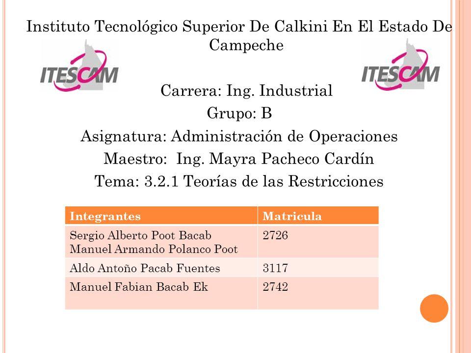 Instituto Tecnológico Superior De Calkini En El Estado De Campeche Carrera: Ing. Industrial Grupo: B Asignatura: Administración de Operaciones Maestro: Ing. Mayra Pacheco Cardín Tema: 3.2.1 Teorías de las Restricciones