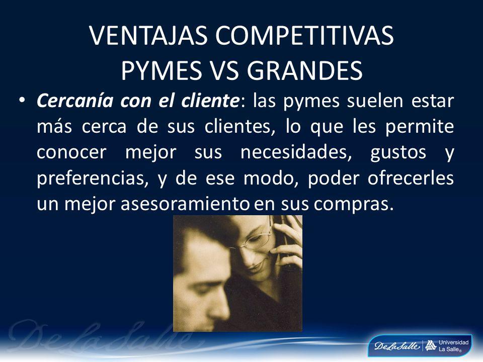 VENTAJAS COMPETITIVAS PYMES VS GRANDES