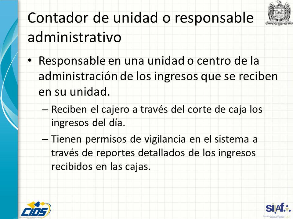 Contador de unidad o responsable administrativo