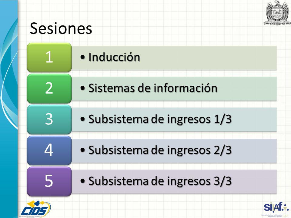 4 5 Sesiones 1 2 3 Inducción Sistemas de información