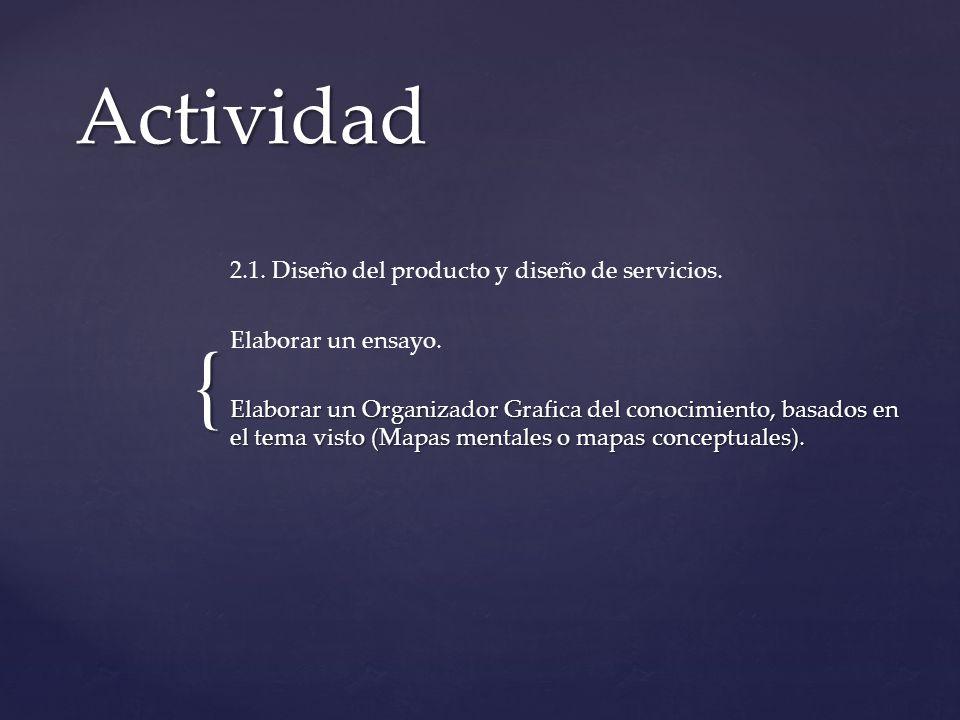 Actividad 2.1. Diseño del producto y diseño de servicios.