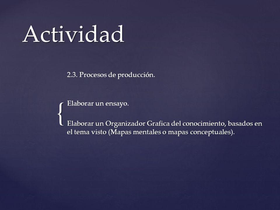Actividad 2.3. Procesos de producción. Elaborar un ensayo.