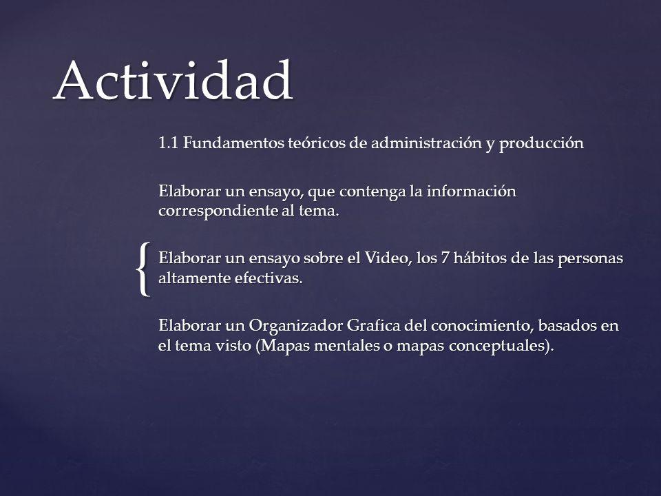 Actividad 1.1 Fundamentos teóricos de administración y producción