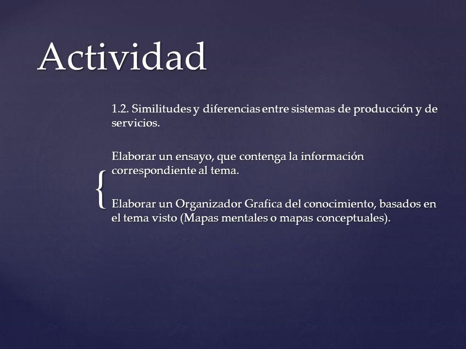 Actividad 1.2. Similitudes y diferencias entre sistemas de producción y de servicios.