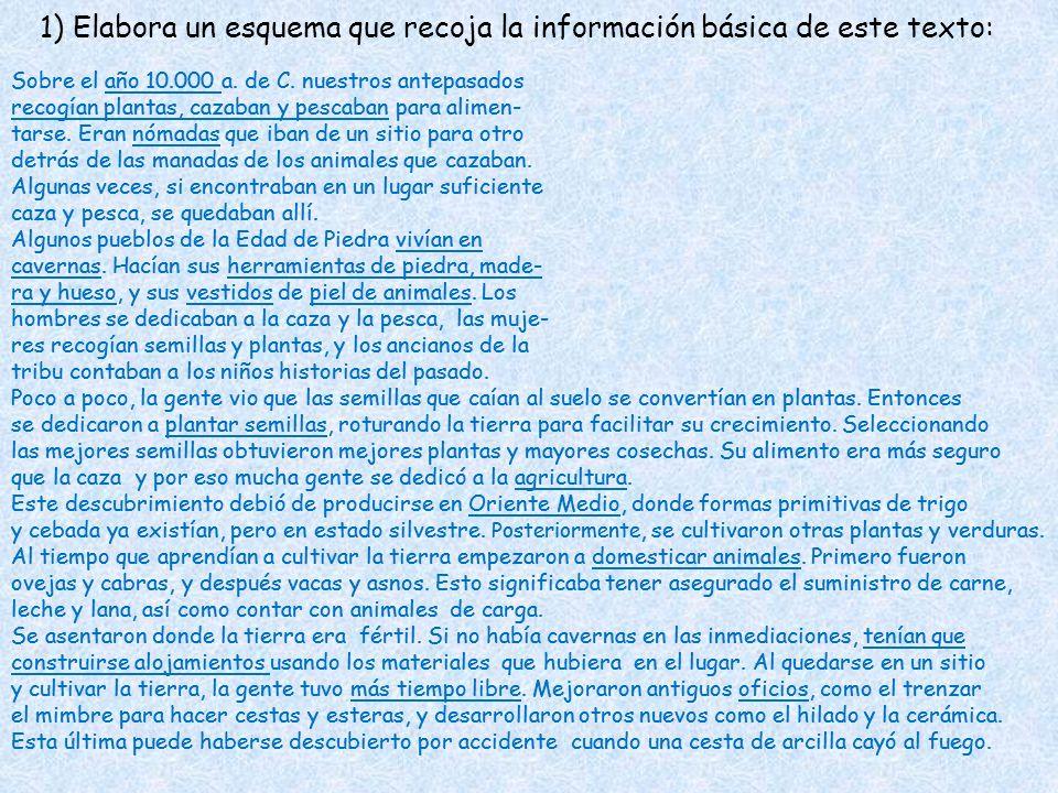 1) Elabora un esquema que recoja la información básica de este texto: