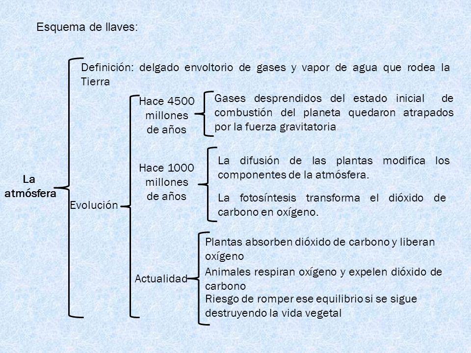 Esquema de llaves:Definición: delgado envoltorio de gases y vapor de agua que rodea la Tierra.