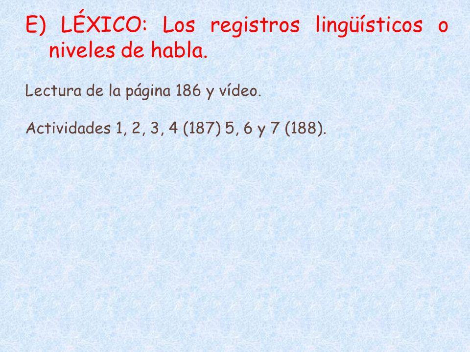 E) LÉXICO: Los registros lingüísticos o niveles de habla.