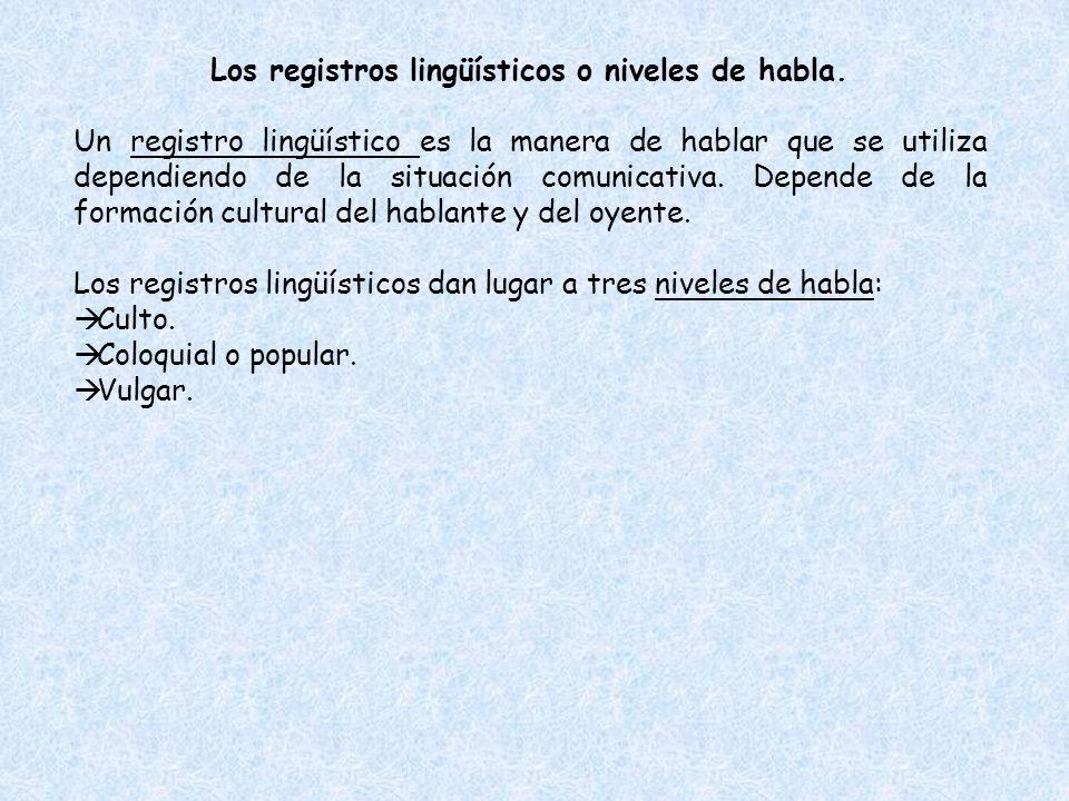 Los registros lingüísticos o niveles de habla.