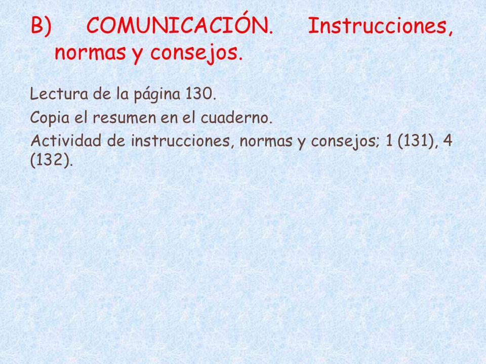 B) COMUNICACIÓN. Instrucciones, normas y consejos.