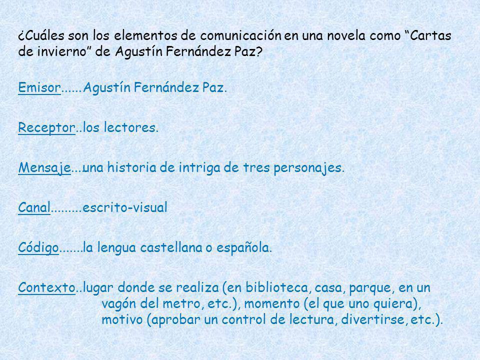 ¿Cuáles son los elementos de comunicación en una novela como Cartas de invierno de Agustín Fernández Paz