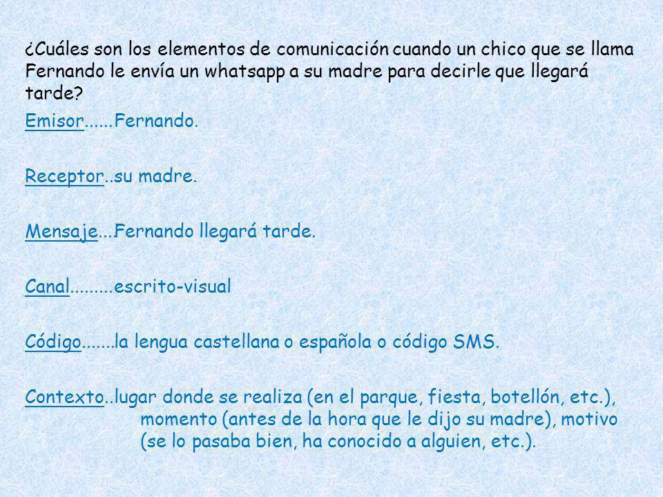 ¿Cuáles son los elementos de comunicación cuando un chico que se llama Fernando le envía un whatsapp a su madre para decirle que llegará tarde