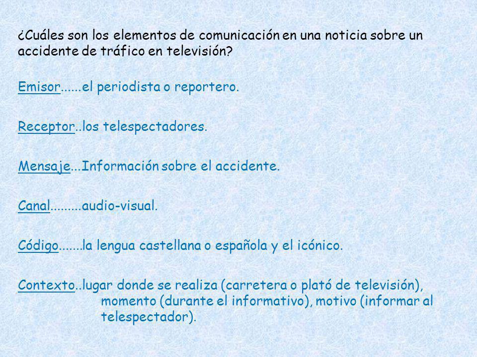 ¿Cuáles son los elementos de comunicación en una noticia sobre un accidente de tráfico en televisión