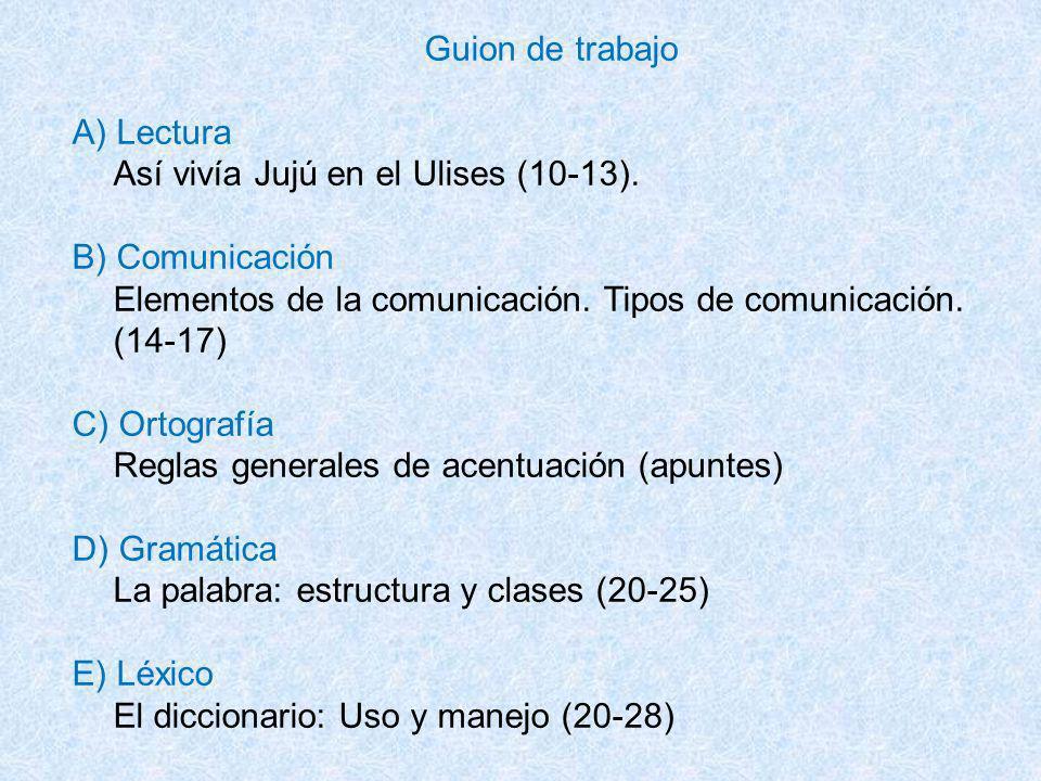 Guion de trabajo A) Lectura. Así vivía Jujú en el Ulises (10-13). B) Comunicación. Elementos de la comunicación. Tipos de comunicación.