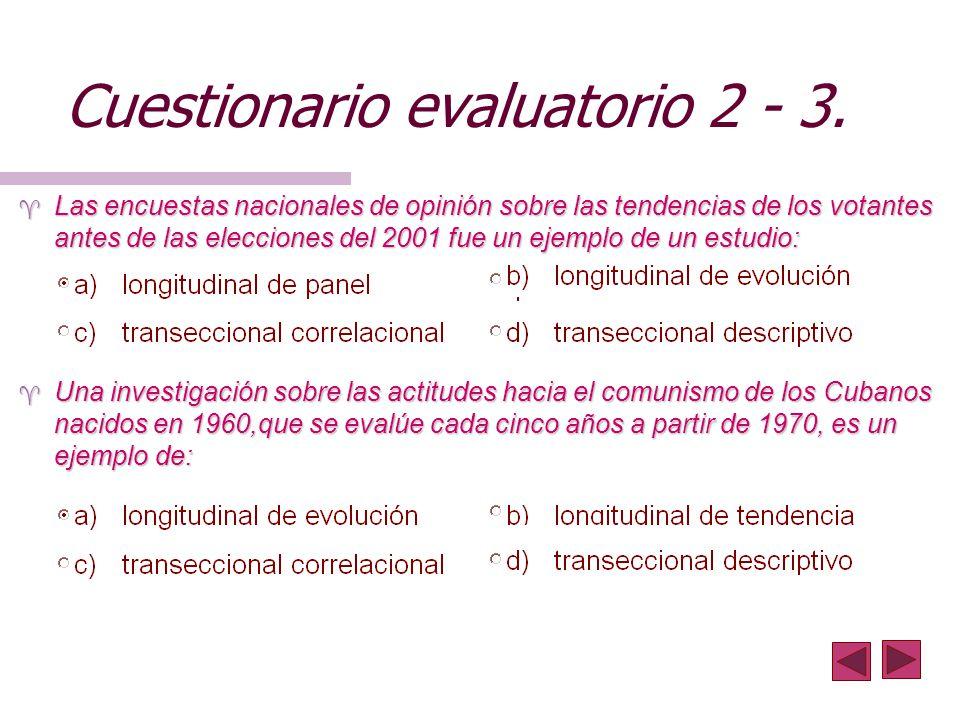 Cuestionario evaluatorio 2 - 3.