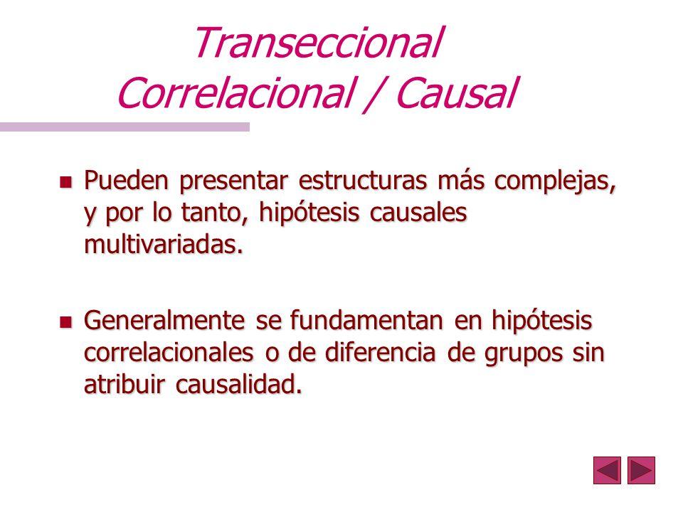 Transeccional Correlacional / Causal