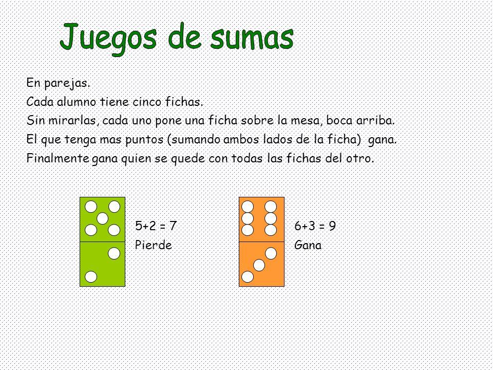 Juegos de sumas En parejas. Cada alumno tiene cinco fichas.