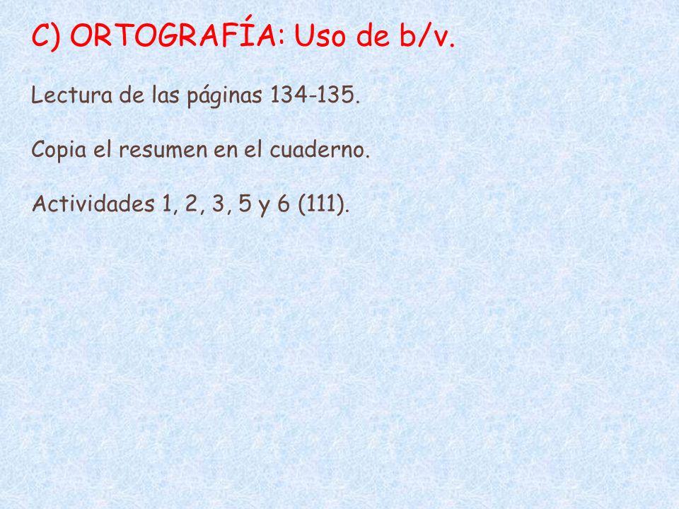 C) ORTOGRAFÍA: Uso de b/v.