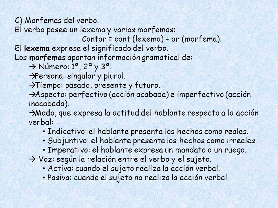 C) Morfemas del verbo. El verbo posee un lexema y varios morfemas: Cantar = cant (lexema) + ar (morfema).