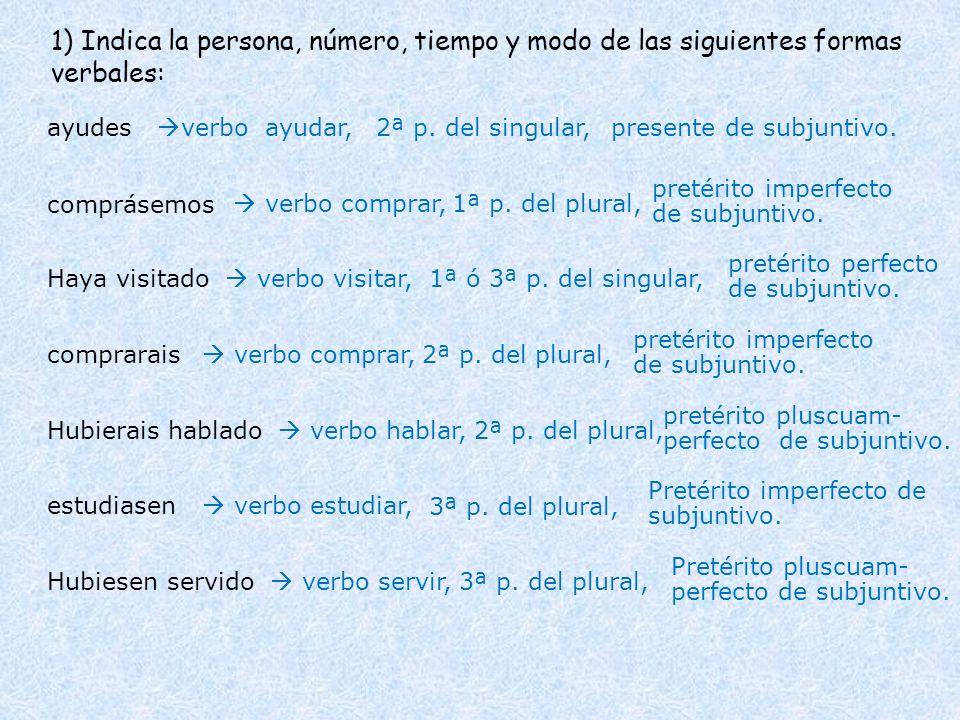 1) Indica la persona, número, tiempo y modo de las siguientes formas verbales: