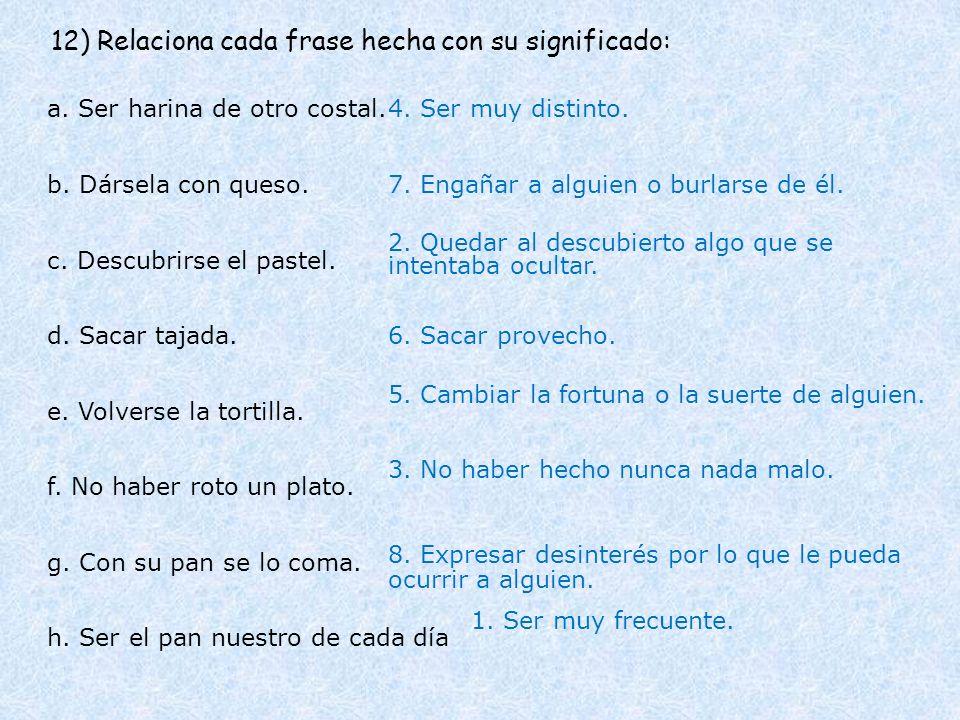 12) Relaciona cada frase hecha con su significado: