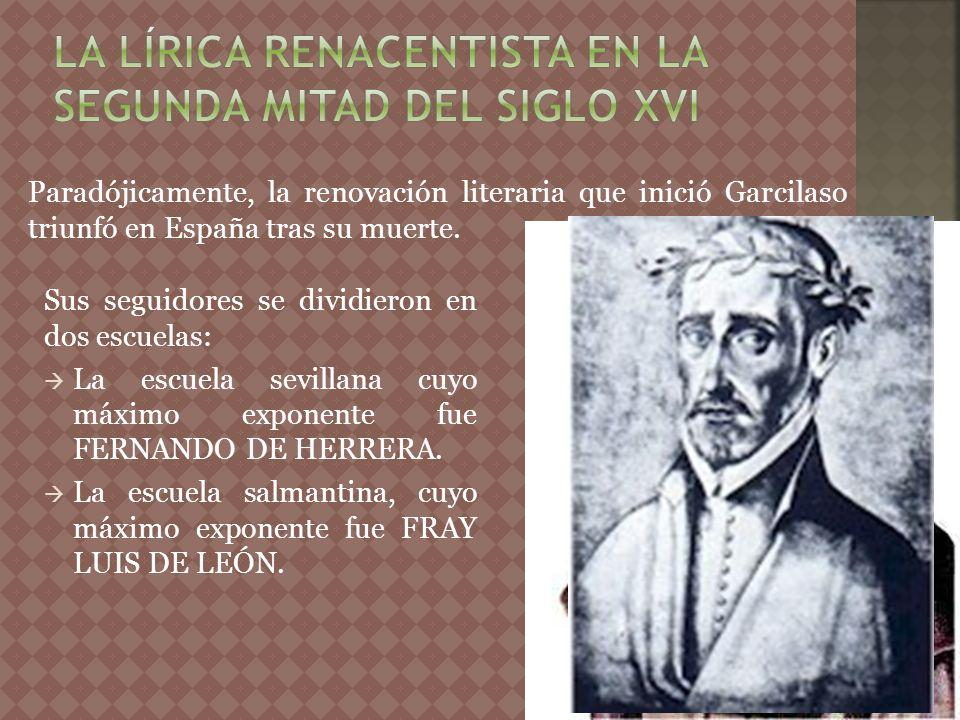 La lírica renacentista en la segunda mitad del siglo XVI
