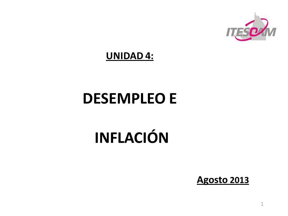 DESEMPLEO E INFLACIÓN UNIDAD 4: Agosto 2013