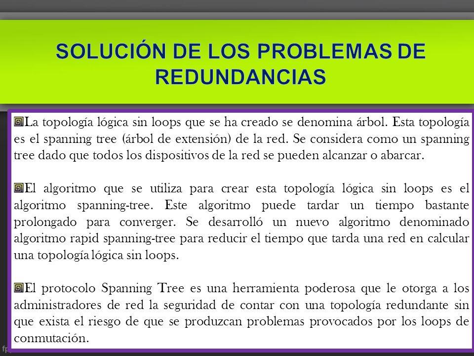 SOLUCIÓN DE LOS PROBLEMAS DE REDUNDANCIAS