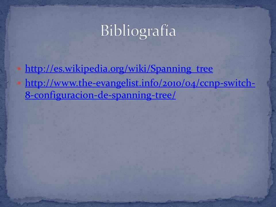 Bibliografía http://es.wikipedia.org/wiki/Spanning_tree