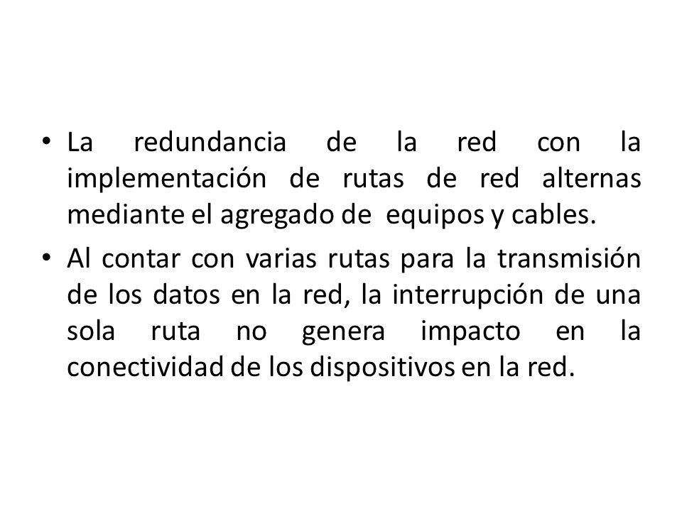 La redundancia de la red con la implementación de rutas de red alternas mediante el agregado de equipos y cables.