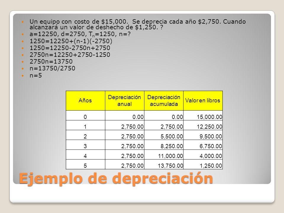 Ejemplo de depreciación