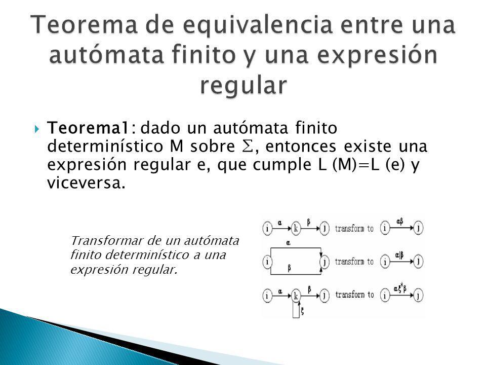 Teorema de equivalencia entre una autómata finito y una expresión regular