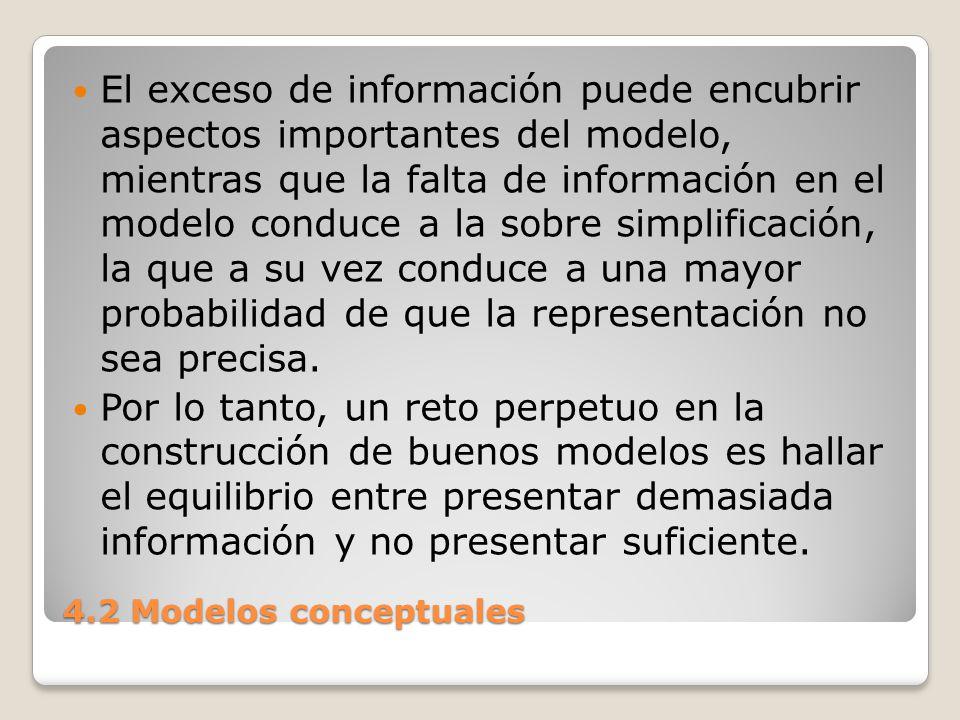 El exceso de información puede encubrir aspectos importantes del modelo, mientras que la falta de información en el modelo conduce a la sobre simplificación, la que a su vez conduce a una mayor probabilidad de que la representación no sea precisa.