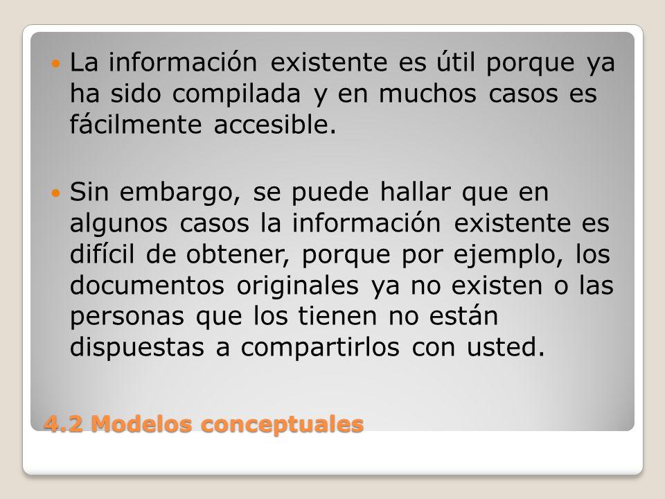 La información existente es útil porque ya ha sido compilada y en muchos casos es fácilmente accesible.