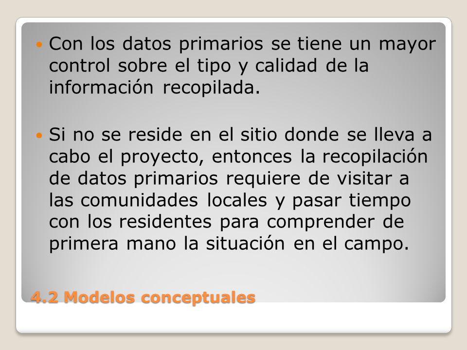 Con los datos primarios se tiene un mayor control sobre el tipo y calidad de la información recopilada.