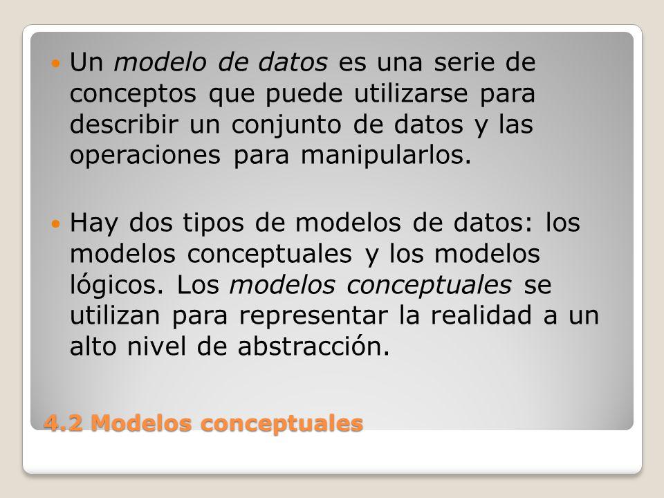 Un modelo de datos es una serie de conceptos que puede utilizarse para describir un conjunto de datos y las operaciones para manipularlos.