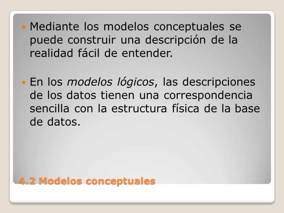 Mediante los modelos conceptuales se puede construir una descripción de la realidad fácil de entender.