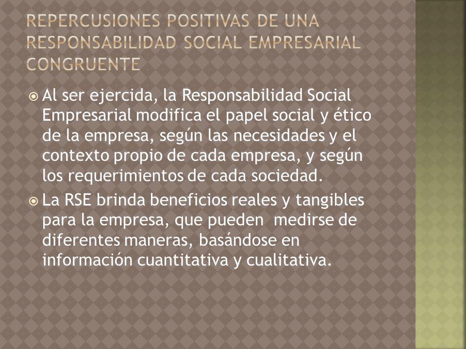 Repercusiones positivas de una Responsabilidad Social Empresarial congruente