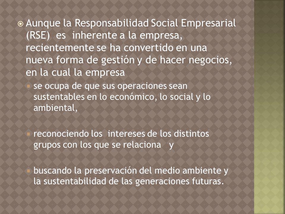 Aunque la Responsabilidad Social Empresarial (RSE) es inherente a la empresa, recientemente se ha convertido en una nueva forma de gestión y de hacer negocios, en la cual la empresa