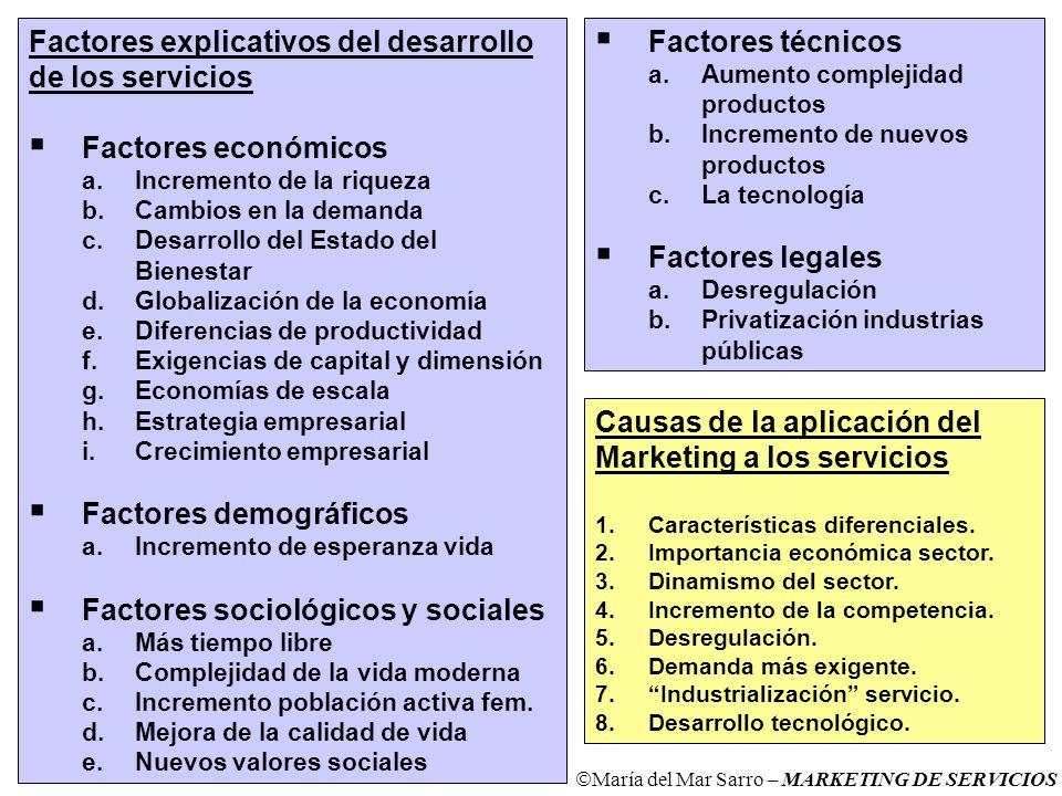 Factores explicativos del desarrollo de los servicios