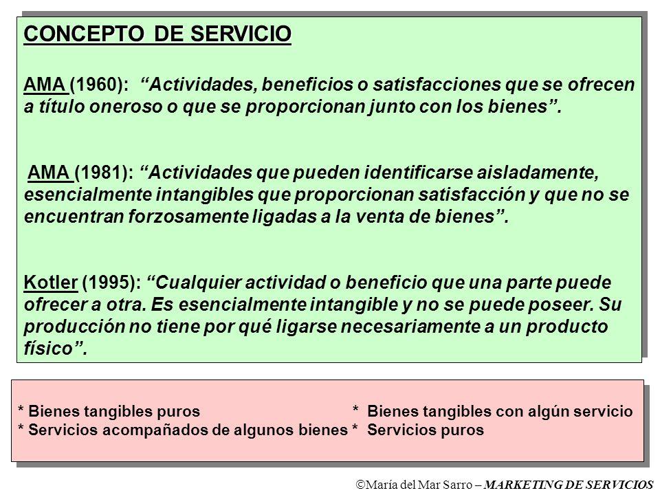 CONCEPTO DE SERVICIO AMA (1960): Actividades, beneficios o satisfacciones que se ofrecen.