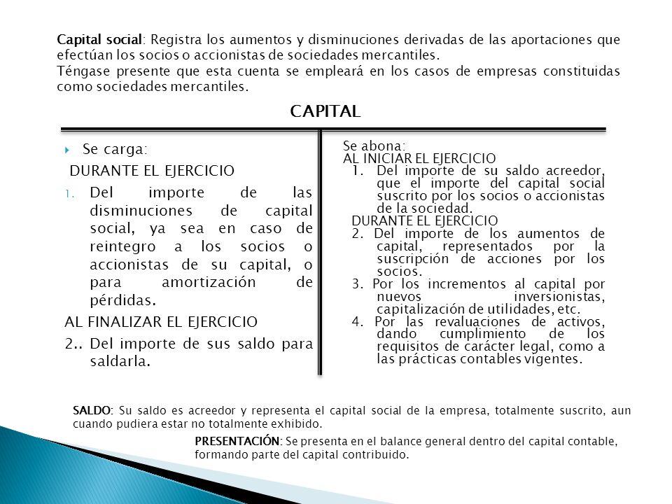 CAPITAL Se carga: DURANTE EL EJERCICIO