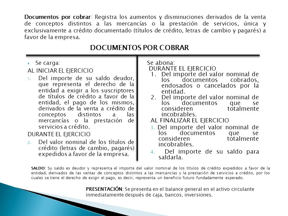 DOCUMENTOS POR COBRAR Se abona: