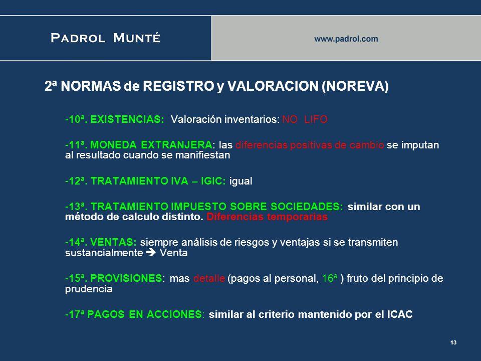 2ª NORMAS de REGISTRO y VALORACION (NOREVA)