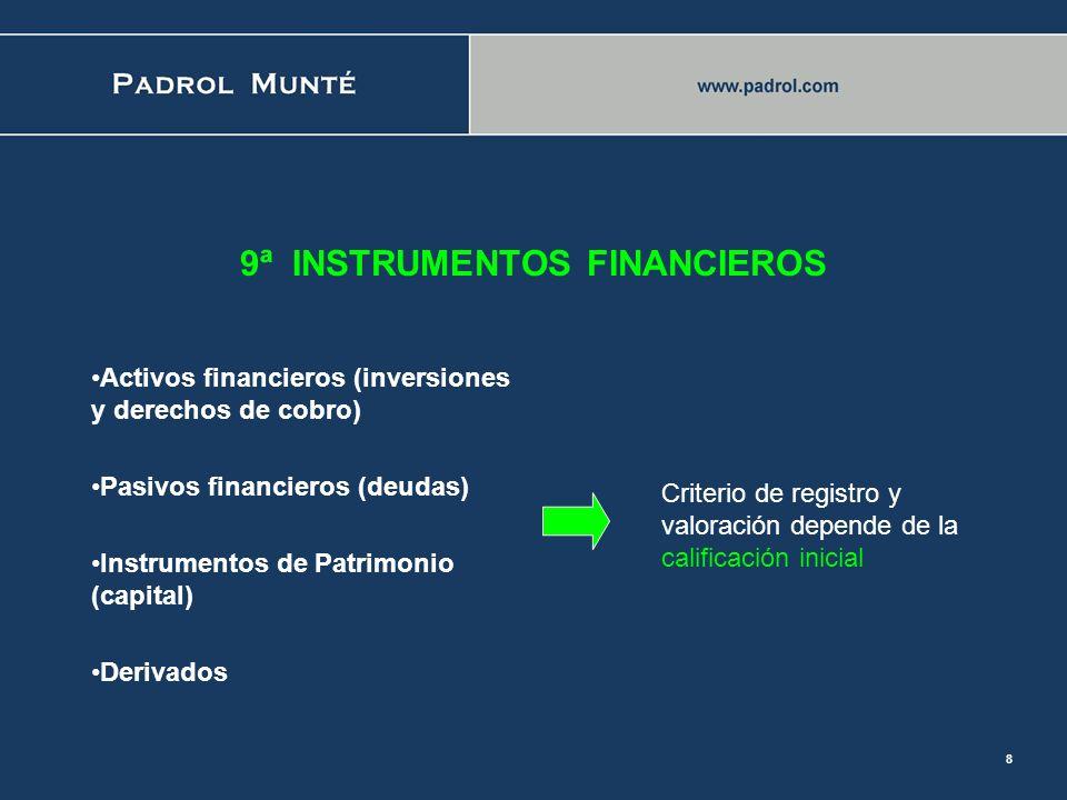 9ª INSTRUMENTOS FINANCIEROS