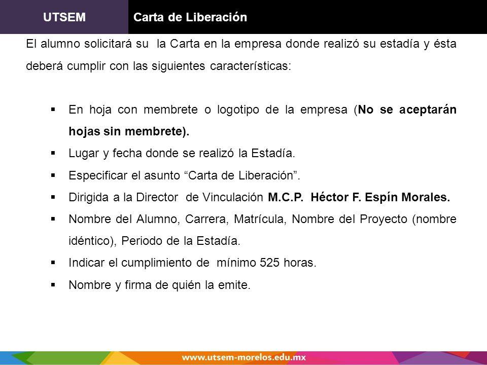 UTSEM Carta de Liberación.